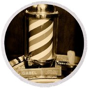 Barber - Barber Pole - Black And White Round Beach Towel