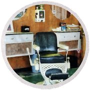 Barber - Barber Shop One Chair Round Beach Towel by Susan Savad