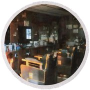 Barber - Barber Shop With Sun Streaming Through Window Round Beach Towel