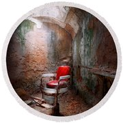 Barber - Eastern State Penitentiary - Remembering My Last Haircut  Round Beach Towel