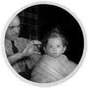 Barber - First Haircut Round Beach Towel