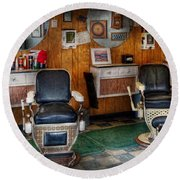 Barber - Frenchtown Nj - Two Old Barber Chairs  Round Beach Towel by Mike Savad