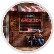 Barber - Metuchen Nj - Waiting For Mike Round Beach Towel by Mike Savad