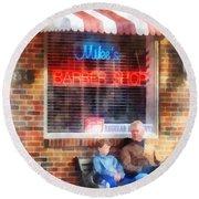 Barber - Neighborhood Barber Shop Round Beach Towel