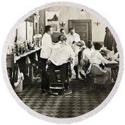 Barber Shop, 1920 Round Beach Towel