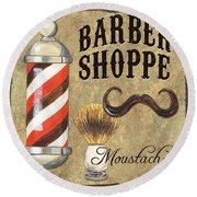 Barber Shoppe 1 Round Beach Towel