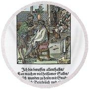 Barber-surgeon, 1568 Round Beach Towel