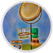 Barber - The Shaving Mirror Round Beach Towel