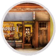 Barber - Towne Barber Shop Round Beach Towel by Mike Savad