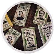 Barber - Vintage Gillette Razor Blades Round Beach Towel