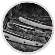 Barber - Vintage Razors In Black And White Round Beach Towel