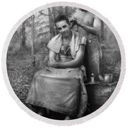 Barber - Wwii - Gi Haircut Round Beach Towel