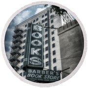 Barbers Book Store Round Beach Towel