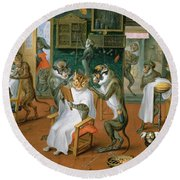 Barbers Shop With Monkeys And Cats Oil On Copper Round Beach Towel