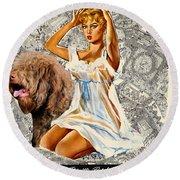 Barbet Art - Una Parisienne Movie Poster Round Beach Towel