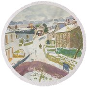 Barbon In The Snow Round Beach Towel