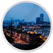 Barcelona At Night  Round Beach Towel