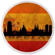 Barcelona City Round Beach Towel