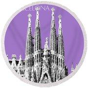 Barcelona Skyline La Sagrada Familia - Violet Round Beach Towel