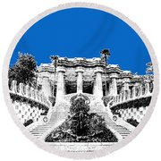 Barcelona Skyline Park Guell - Blue Round Beach Towel