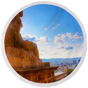 Barcelona View From Catalunya National Museum Of Art Round Beach Towel