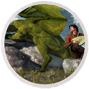 Bard And Dragon Round Beach Towel