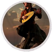 Bard With Lute Round Beach Towel