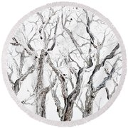 Bare Branches Print Option 2 Round Beach Towel