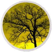 Bare Tree Against Yellow Background E88 Round Beach Towel
