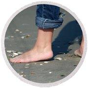 Barefoot On The Beach Round Beach Towel