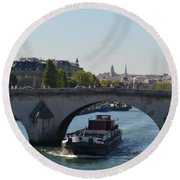 Barge On River Seine Round Beach Towel