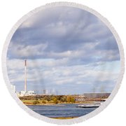 Barges On River Rhine At Duisburg Germany Europe Round Beach Towel
