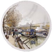 Barges On The Seine Round Beach Towel by Eugene Galien-Laloue