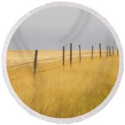 Barley Field And Fenceline, Southern Round Beach Towel
