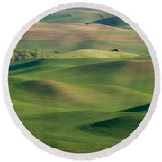 Barn Among The Contours Round Beach Towel