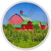 Barn And Apple Orchard Round Beach Towel