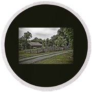 Barn And Corral Round Beach Towel