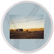 Barn And Landscape Round Beach Towel