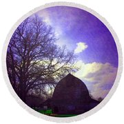 Barn And Oak Digital Painting Round Beach Towel