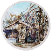 Barn By The Tree Round Beach Towel