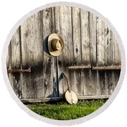 Barn Door And Banjo Mandolin Round Beach Towel by Bill Cannon