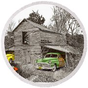 Barn Finds Classic Cars Round Beach Towel by Jack Pumphrey