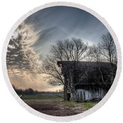 Barn In A Field With A Horse Round Beach Towel