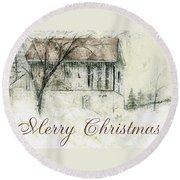 Barn In Snow Christmas Card Round Beach Towel