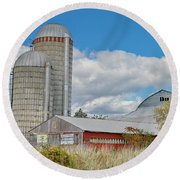 Barn In The Clouds Round Beach Towel