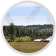 Barn In The Trees Round Beach Towel