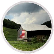 Barn In The Usa Round Beach Towel by Karen Wiles