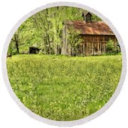 Barn In Wild Turnips Round Beach Towel