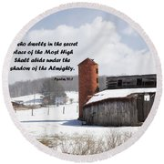 Barn In Winter With Psalm Scripture Round Beach Towel