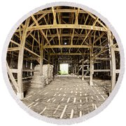 Barn Interior Round Beach Towel